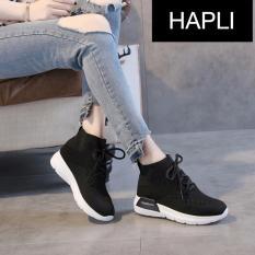 Địa Chỉ Bán Giày sneaker nữ buộc dây cổ chun AORUN – HAPLI (đen)