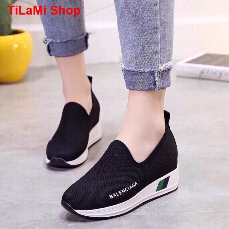Giày Sneaker nữ đế độn Lencia (đen)