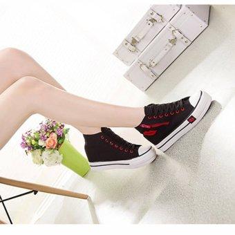 Giày thể thao đế tăng chiều cao 6 cm cổ cao họa tiết trái tim TT55 (Đen) - 3