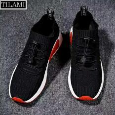 Giày thể thao nam thời trang cổ chun kiểu Hàn Quốc TILAMI (Đen phối đỏ)