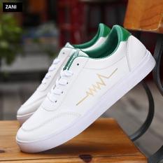 Giày thời trang nam đế bằng dây buộc ZANI ZN3519WG-Trắng Xanh