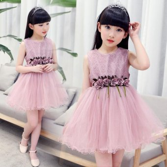 Girls Children New Sweet Fashion Sleeveless Lace Flower Dresses(Pink) - intl