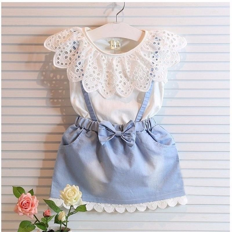 Giá bán Girls Dresses 2017 New Girls Cute Dress Sleeveless Cotton Summer White Belt Denim Dress - intl
