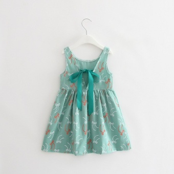 Girls Sweet Cotton Princess Dresses Cherry Flowers Dresses -Beangreen - intl