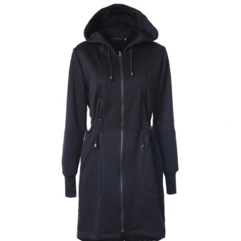 Hang-Qiao Long Jacket With Hat Full Sleeve Casual for Women (Black) - intl