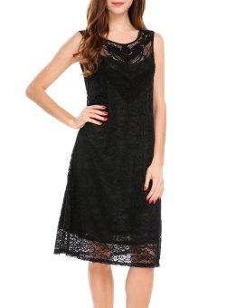 Cyber Women Sleeveless Solid Loose Fit Casual Floral Lace Tunic Dress ( Black ) - intl