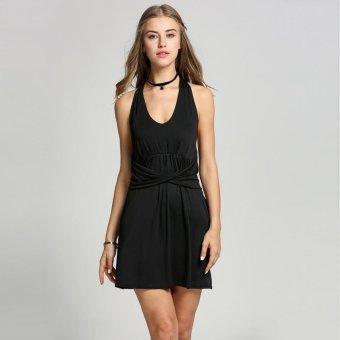 Sunweb Sexy Women Halter Deep V-Neck Backless Draped Solid Mini Dress ( Black ) - intl