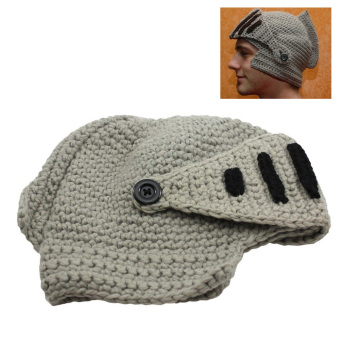 Roman Knight Winter Cap Knit Beanie Hat with Face Mask Gray