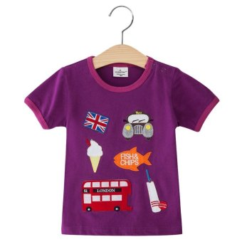 Cotton O-Neck Short Sleeve T-Shirt For Boys (Purple) - Intl