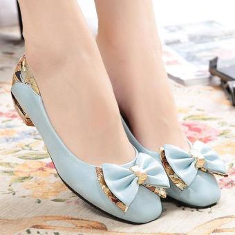 Giày gót vuông hoa văn G1054 (Xanh)