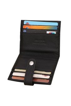HKS Luxury Retro Mens Leather Bifold Wallet Credit ID Card Slim Purse Black - intl