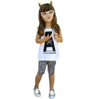 Baby Girls A Word Sleeveless T-Shirt + Leopard Grain Shorts Outfits - Intl - intl