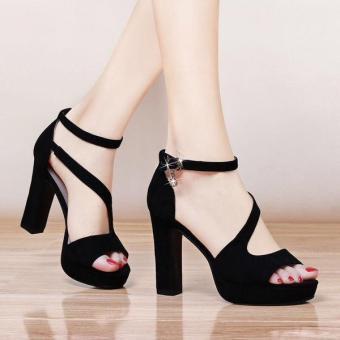 Giày Cao Gót Nữ Quai Chéo - LN1222 - Đen