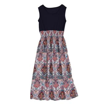 Summer Flower Printed Bohemia Long Dress (Apricot) - Intl