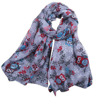 Women Lady Spring Fall Winter Beach Voile Cartoon Owl Pattern Neck Warmer Scarf Wraps Grey - intl