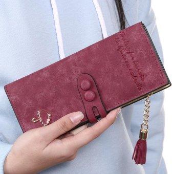 Linemart Women Lady Synthetic Leather Card Holder Long Trifold Wallet Clutch Checkbook Tassel Handbag Purse ( Wine Red ) - intl