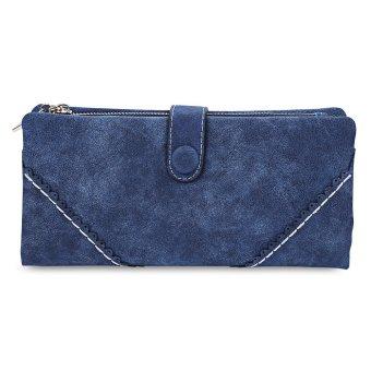 Lace Hasp Dull Polish Horizontal Wallet Lady(Sapphire blue) - intl