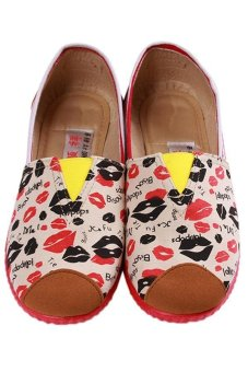 LALANG Fashion Canvas Shoes Lips Printed Casual Sneakers Red - intl