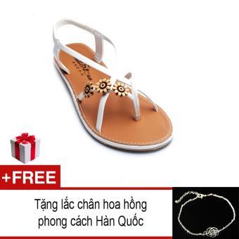 Giày xăng đan Lopez Cute D54 (Trắng) + Tặng lắc chân hoa hồng phong cách Hàn Quốc
