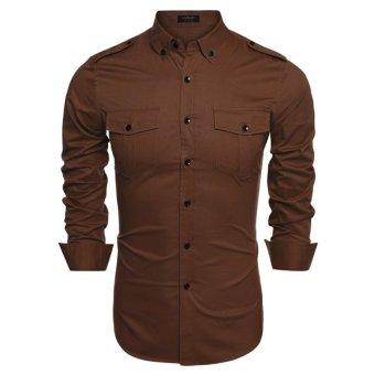 Cyber Coofandy Men Fashion Slim Fit Turn Down Collar Long Sleeve Dual Pockets Solid Casual Shirt - Intl