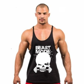 Weightlifting print Stringer Tank Top Men Bodybuilding and Fitness Vests Cotton Singlets Muscle Tops (Black) - intl
