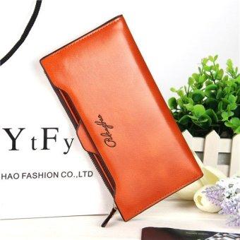 Korea Women Wallet long fashion zipper Tote bags multi-function purse PU Leather phone bag light coffee - intl