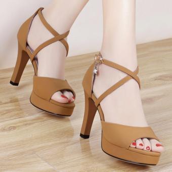 Giày cao gót quai đan chéo nhỏ ( NÂU )