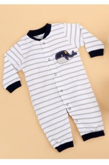 Cyber Infant Baby Long Sleeve Cartoon Pattern Stripe Romper Jumpsuit - intl