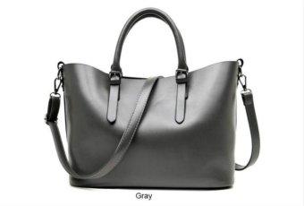 2017 New Fashion Hobos Women Bag Ladies Brand Leather Handbags Spring Casual Tote Bag Big Shoulder Bags (Grey) - intl