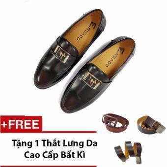 Giày Lười Nam Da Trà Ensado Hq13 (Đen) + Tặng 1 Thắt Lưng Da Cao Cấp