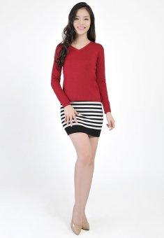 Áo len nữ cổ tim HQLens (Đỏ)