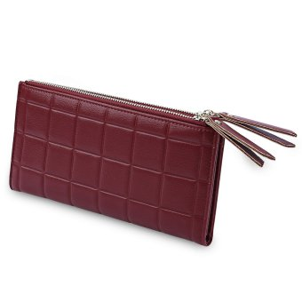 Double Zipper Plaid Design Two Fold Horizontal Wallet for Lady - intl