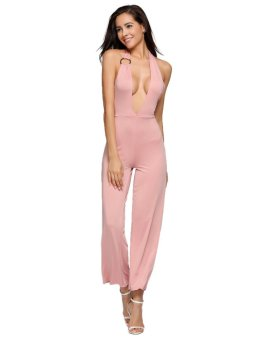 Cyber Plunge Halter Backless Sleeveless Solid Empire Jumpsuits ( Pink ) - intl
