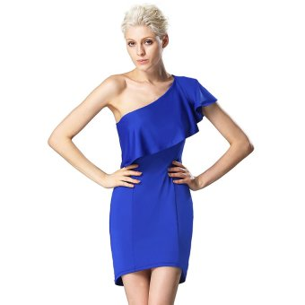 Cyber Finejo Sexy Women One Shoulder Ruffles Neck Solid Bodycon Stretch Mini Party Dress ( Silver ) (Intl) - Intl