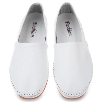 Men Handwork Slip On Leather Shoes (White) - intl