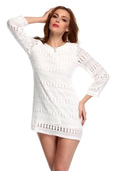 Sunweb Hollow Lace Loose Mini Dress (White) - intl
