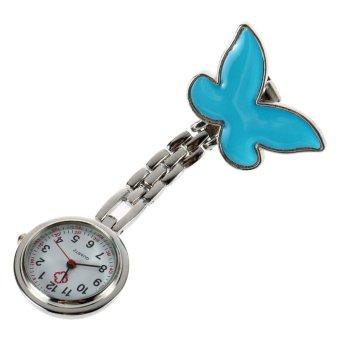 Allwin Cute Pendant Butterfly Nurse Clip-on Brooch Quartz Hanging Pocket Watch New Blue - Intl
