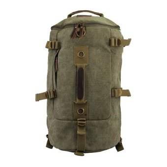 Dual-use Men's Canvas Hiking Camping Backpack army green - Intl