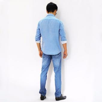 Quần Jean Straight nam KUMAS 010-CA1 xanh bạc