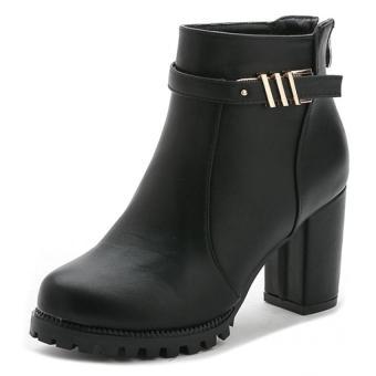 Giày bốt nữ da khóa anh kim gót cao 7cm Doni86 BT234D (Đen)