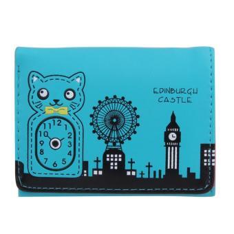 New Women PU Leather Short Cute Cat Wallet Credit Card Holder Purse Clutch - intl