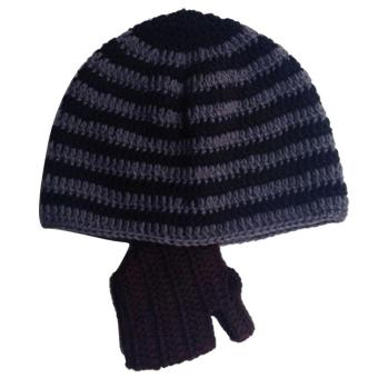 Baby Child Fashion Winter Warm Soft Knitting Wool Stripe Unisex Detachable Beard Hat Cap Color A - intl
