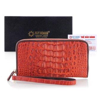 HL3246 - Ví nữ da cá sấu Huy Hoàng 1 khóa nguyên con màu nâu đỏ