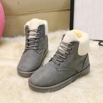 Fashion Women Boots Flat Ankle Lace Up Fur Lined Winter Warm Snow Shoes - intl