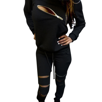 Womens Zipper Tracksuit Hoodie Sweatshirt+Pants Hip Pop Sportsuit L - intl