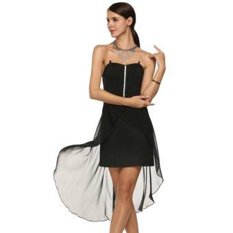Sunweb FINEJO Women Sexy Transparent Spaghetti Strap Irregular Hem Dress ( Black ) - intl