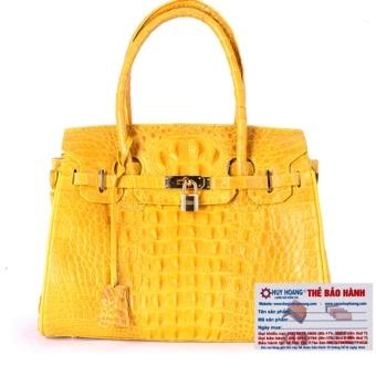 HL6222 - Túi xách nữ da cá sấu Huy Hoàng cao cấp màu vàng nghệ