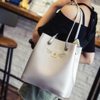 Women Girls Cat Shoulder Bag Drawstring Travel Large Bag - intl