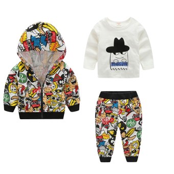3pcs Kids Boys Cartoon Printed Casual Clothes Hoodie Coat Tops Pants Outfit(Yellow) - intl