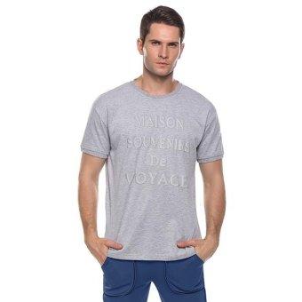 Linemart Mens Casual O-Neck Short Sleeve Letter Print Pullover Basic T-Shirt ( Grey ) - intl